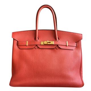 Hermes Red Togo Leather Birkin 35 GHW