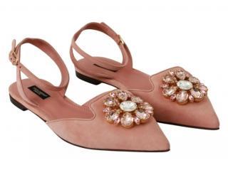 Dolce & Gabbana Pink Suede Crystal Slingback Flat Sandals