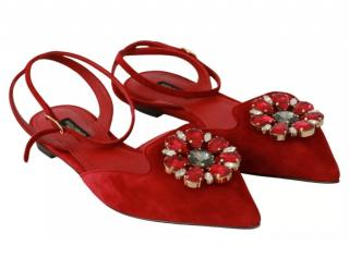 Dolce & Gabbana Red Suede Crystal Flat Sandals