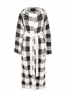 Chanel Ecru/Black Cashmere & Silk Checked Longline Cardigan-Coat