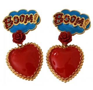Dolce & Gabbana Red & Blue Cartoon Boom Clip-On Heart Earrings