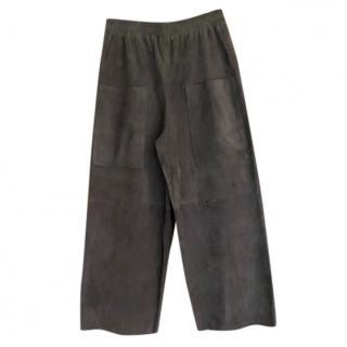 Oska grey suede wide leg pants