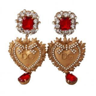 Dolce & Gabbana Crystal Embellished Heart Drop Clip-On Earrings
