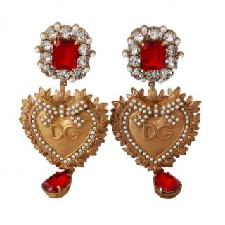 Dolce & Gabbana Crystal Embellished Heart Drop Clip-On Earrings