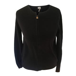 Hermes Black Cashmere Cardigan with Lock Zipper Pull