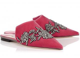 Jimmy Choo Pink Velvet Rachel Crystal Embellished Slides
