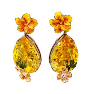 Dolce & Gabbana Yellow Crystal Embellished Clip-On Earrings