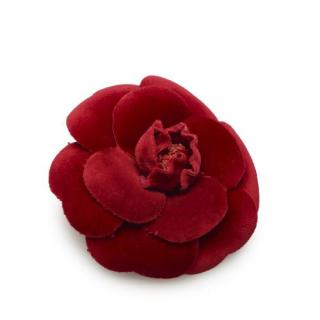 Chanel Red Velour Camellia Pin Brooch