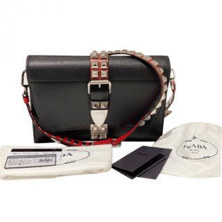 Prada Black Calfskin Studded Elektra Shoulder Bag