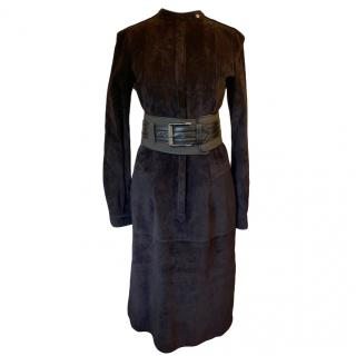 Belstaff Black Suede Belted Dress
