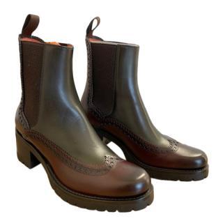 Santoni Tri-Colour Brogue Detailed Ankle Boots