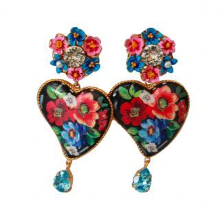 Dolce & Gabbana Floral Heart Drop Clip-On Earrings