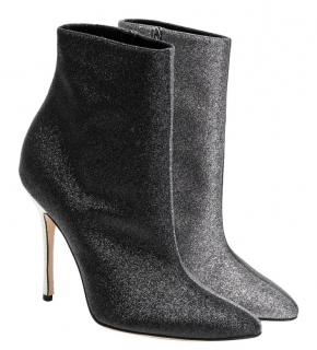 Manolo Blahnik Two-Tone Glitter Ankle Boots