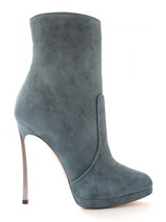 Casadei Blue Suede blade Heel Ankle Boots