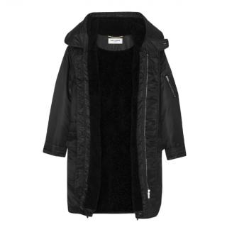 Saint Laurent Black Oversize Shearling Lined Belted Coat