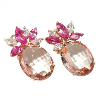 William & Son Pink Sapphire, Diamond & Morganite Rose Gold Earrings
