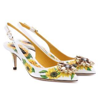 Dolce & Gabbana Sunflower Print Crystal Slingback Sandals