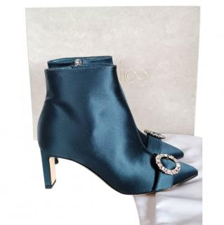 Jimmy Choo Green Satin Hanover Ankle Boots