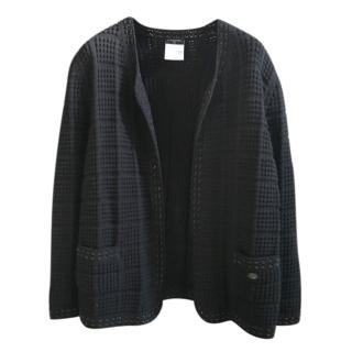 Chanel Black Wool Blend Knit Chain Woven Cardigan/Jacket
