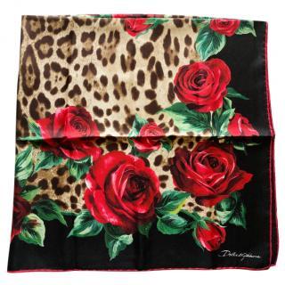 Dolce & Gabbana Silk Floral Leopard Print Wrap Scarf