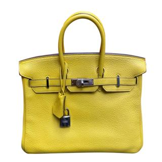 Hermes Clemence Leather Yellow Lime Birkin 25 PHW