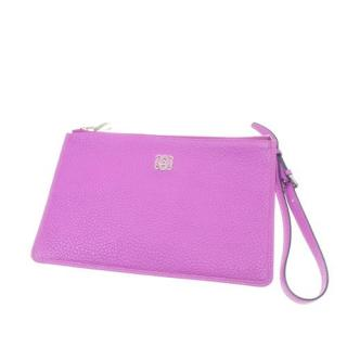 Loewe Purple Grained Leather Pouch