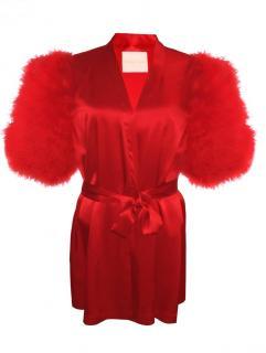 Maguy de Chadirac Red Silk Marabou Feather Trim Kimono