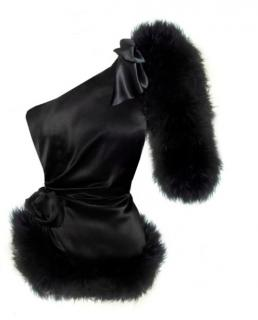 Maguy de Chadirac One Shoulder Feather Trim Top in Black