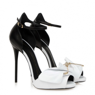 Gisueppe Zanotti Black & White Safety Pin Leather Sandals