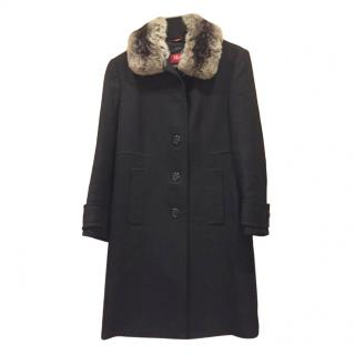 Max Mara Black Wool Coat with Chinchilla Fur Collar