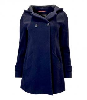 Comptoir Des Cotonniers Blue Wool Blend Hooded Coat