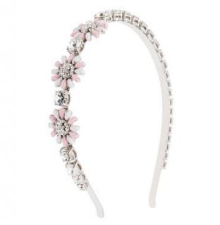 Miu Miu Pink/White Crystal Floral Headband