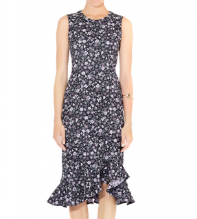 Erdem Black Floral Jacquard Louisa Dress