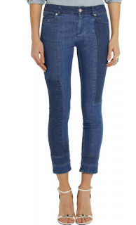 Alexander McQueen Blue Patchwork Cropped Jeans