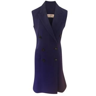 Christian Dior Blue Vintage Sleeveless Tailored Dress Coat