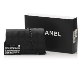 Chanel Travel Line Black Nylon Wallet On Chain