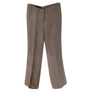Loro Piana Silk & Cashmere Grey Tailored Pants