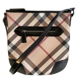 Burberry Nova Check Patent Trimmed Messenger Bag