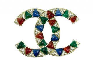 Chanel Gold Tone Gripoix CC Pin Brooch