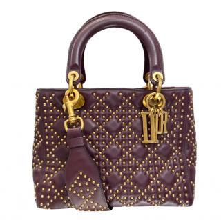 Dior Burgundy Studded Lady Dior Bag