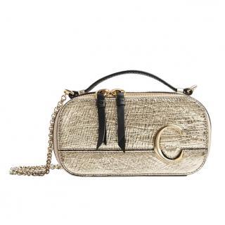 Chloe Metallic Crinkled Lambskin Vanity Mini C Bag