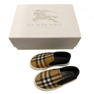 Burberry Kids House Check Slip-on Shoes