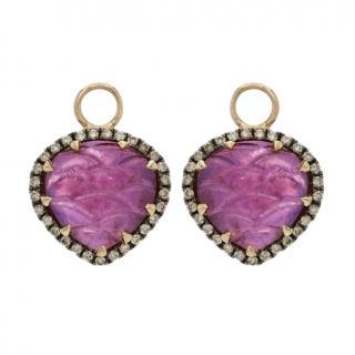 Annoushka 18ct Rose Gold Ruby & Diamond Drop Alchemy Earrings