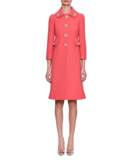 Dolce & Gabbana Wool Crepe Roseto Dress Coat