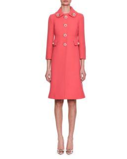 Dolce & Gabbana Wool Crepe Roseto Dress Coat