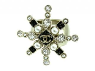 Chanel Crystal Beaded Pale Gold Tone Star Ring