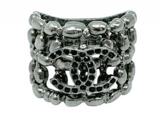 Chanel Silver Tone Filigree Style CC Ring