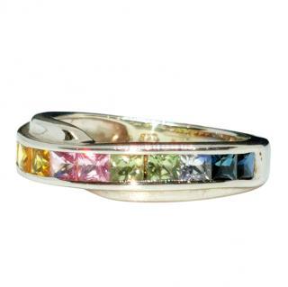 Bespoke White Gold Rainbow Sapphire Ring