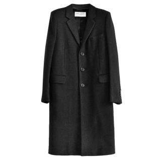 Saint Laurent Black Wool Blend Chesterfield Coat