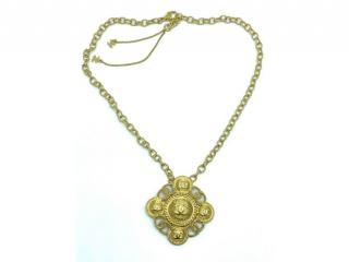 Chanel Gold Tone Medallion Cross Pendant Necklace